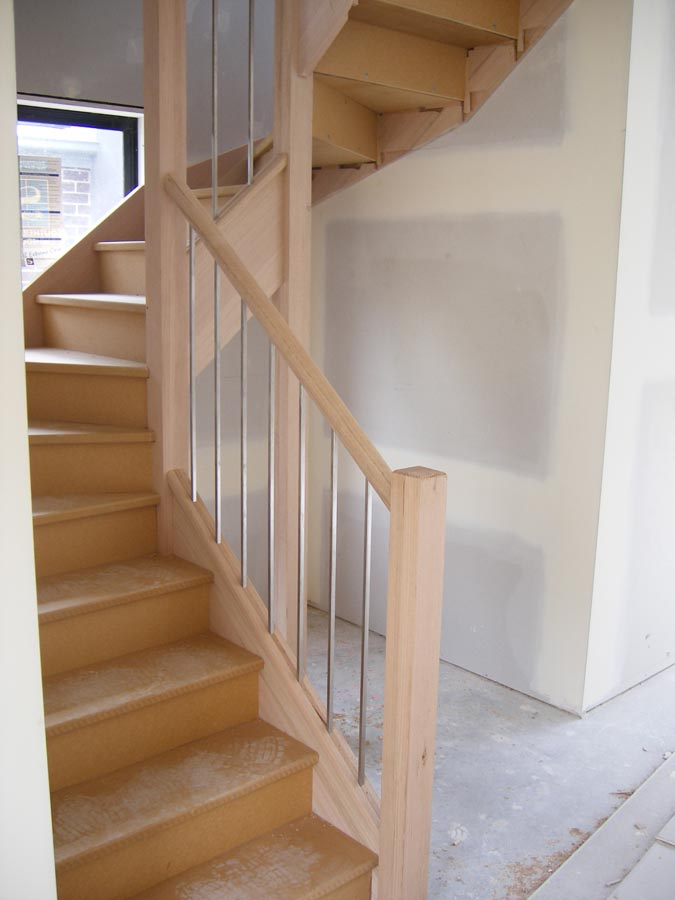 Amazing ... 90mm X 90mm Square Vic Ash Posts, 65mm X 42mm Oval Vic Ash Handrail  With 12mm Square Stainless Steel Bars For Balustrade. Mdf Treads And Risers  For ...
